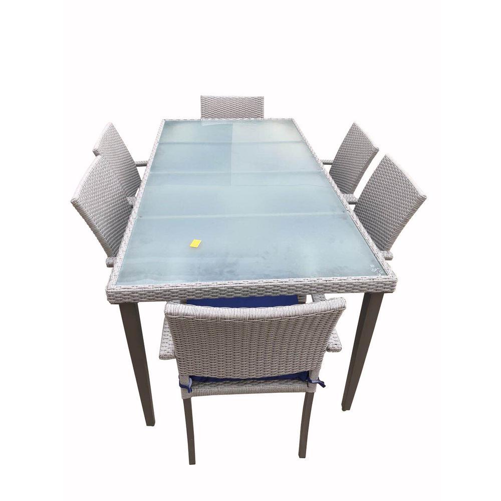 Aldrich 7-Piece Wicker Patio Outdoor Dining Set with Blue Sunbrella Cushions