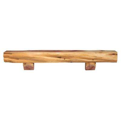 6 ft. Natural Cedar Shelf Cap-Shelf Mantel with Corbels