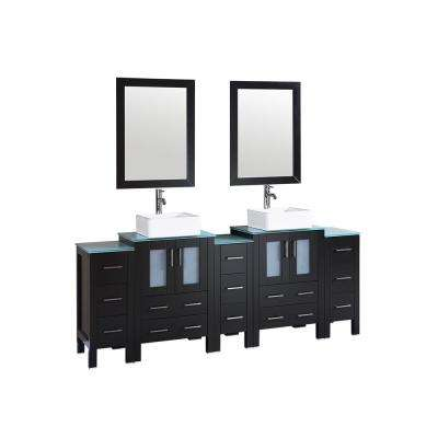84 in. W Double Bath Vanity with Tempered Glass Vanity Top in Green with White Basin and Mirror