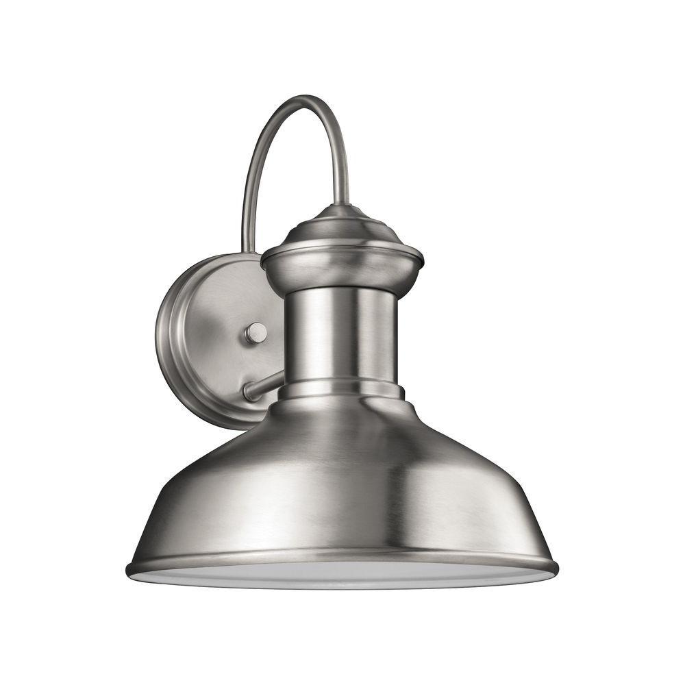 Sea Gull Lighting Fredricksburg 1-Light Satin Aluminum 11.9375 in. Wall Lantern Sconce