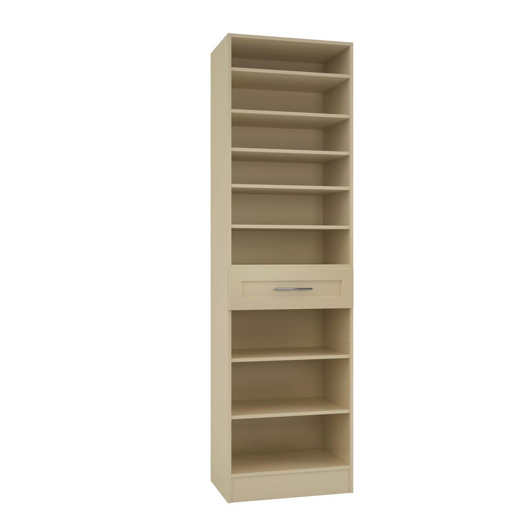 Home Decorators Collection 15 in. D x 24 in. W x 84 in. H Bergamo Almond Melamine with 9-Shelves and Drawer Closet System Kit