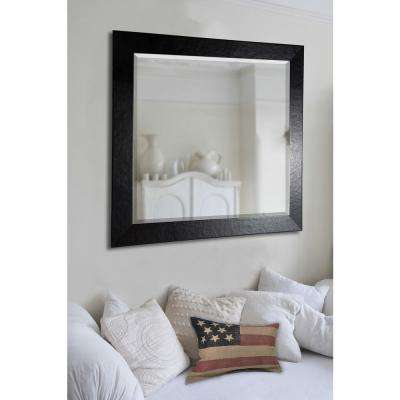 Floor mirror mirrors wall decor the home depot 215 in x 605 in jovie jane black wide leather rounded beveled slender body ppazfo