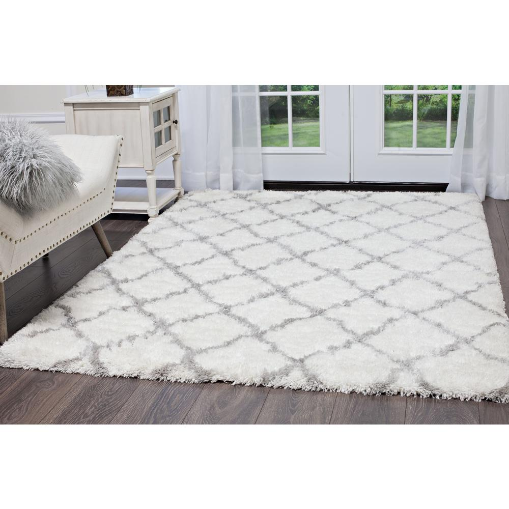 Carmela Ivory/Gray Trellis Shag 9 ft. 2 in. x 12 ft.