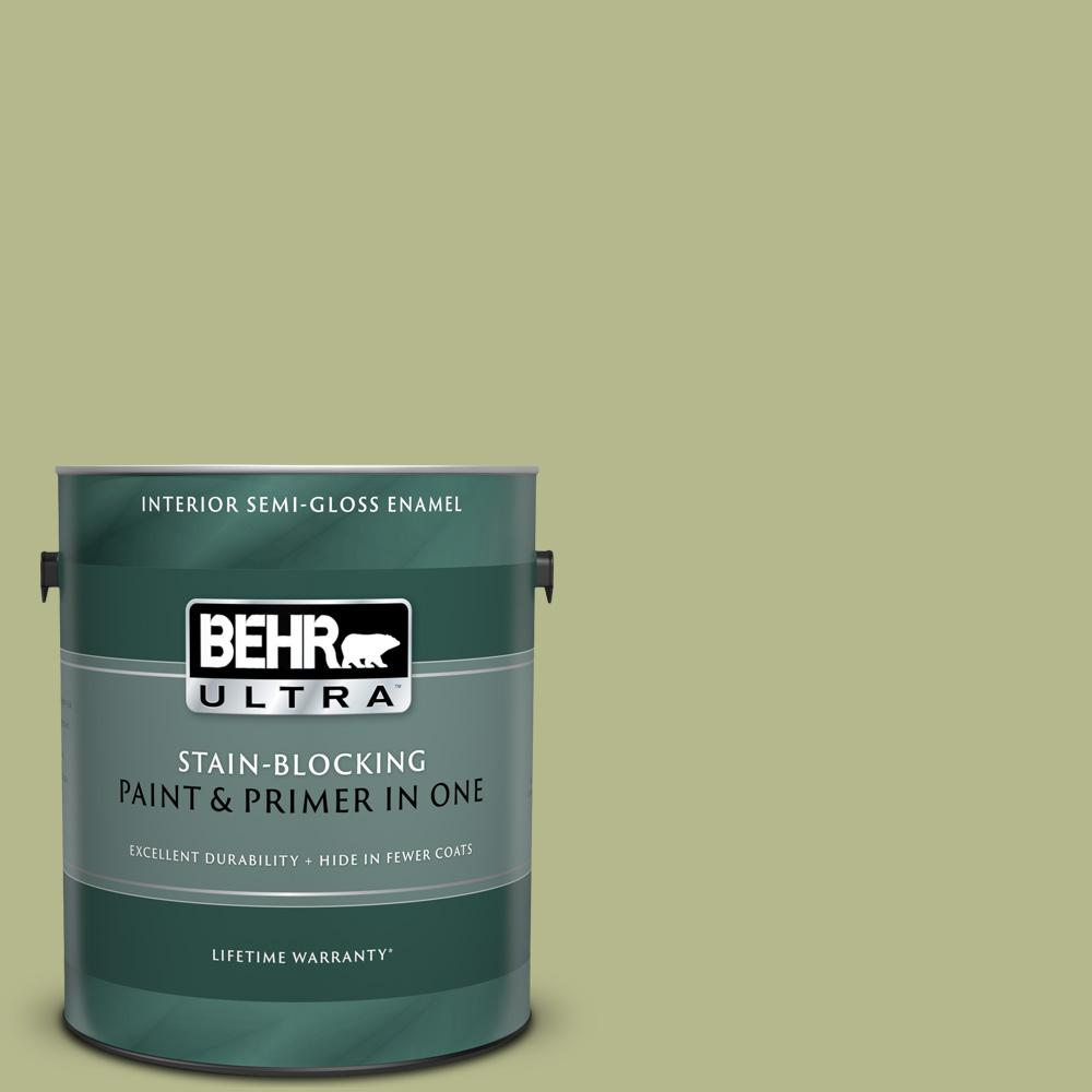 Behr Ultra 1 Gal Home Decorators Collection Hdc Sp14 1 Secret Glade Semi Gloss Enamel Interior Paint Primer 375401 The Home Depot