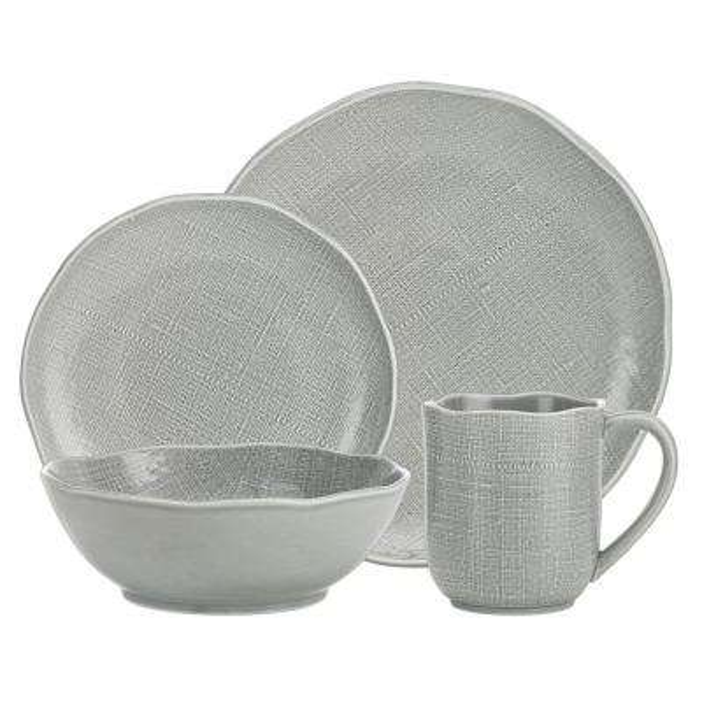Tela 16-Piece Patterned White Porcelain Dinnerware Set (Service for 4)