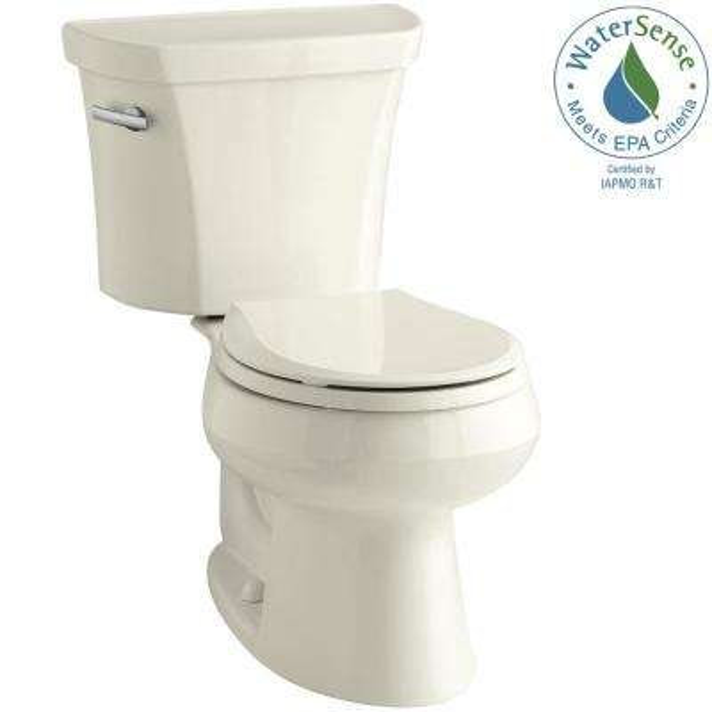 Wellworth 2-piece 1.28 GPF Single Flush Round Toilet in Biscuit