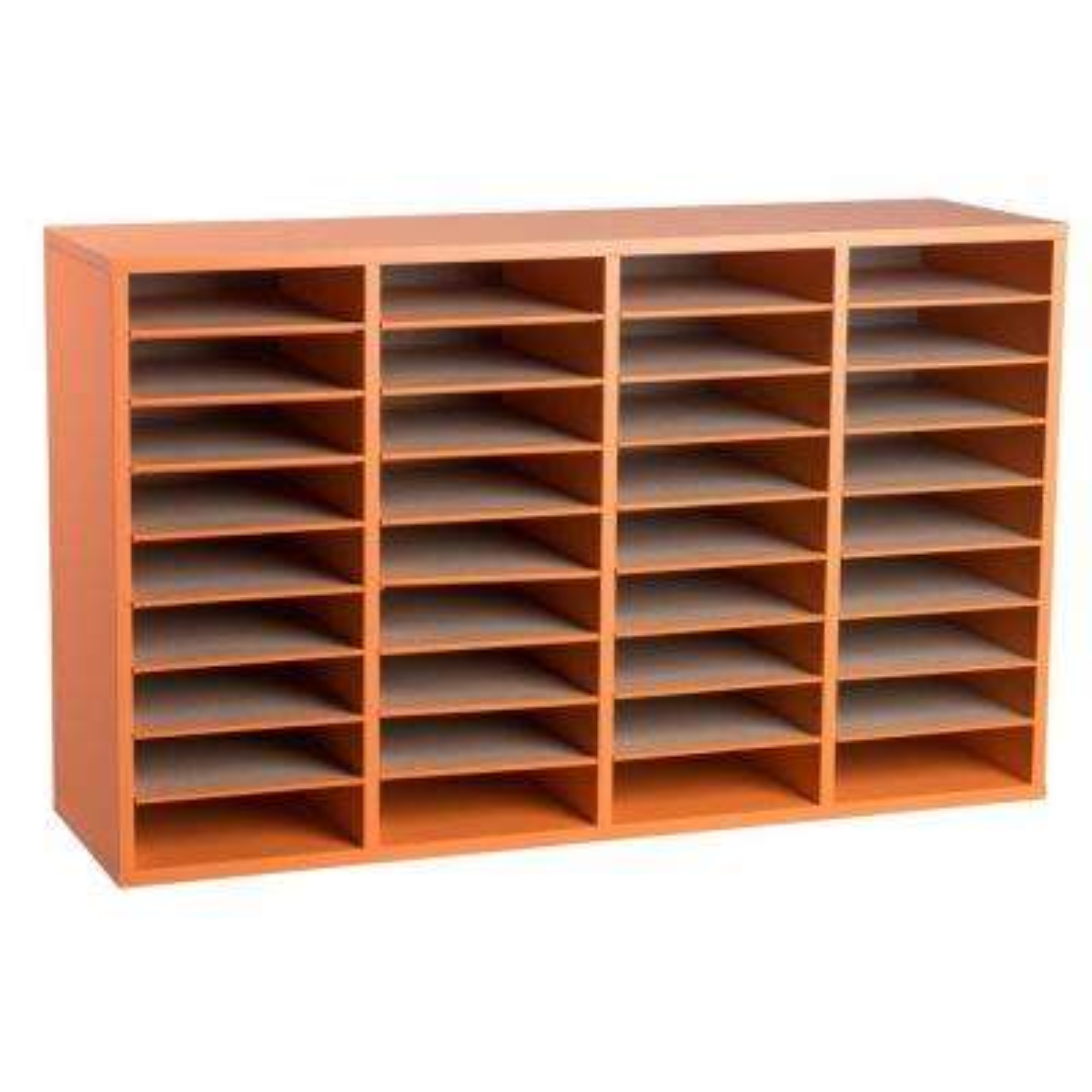 Wood Adjustable 36 Compartment Literature Organizer, Orange