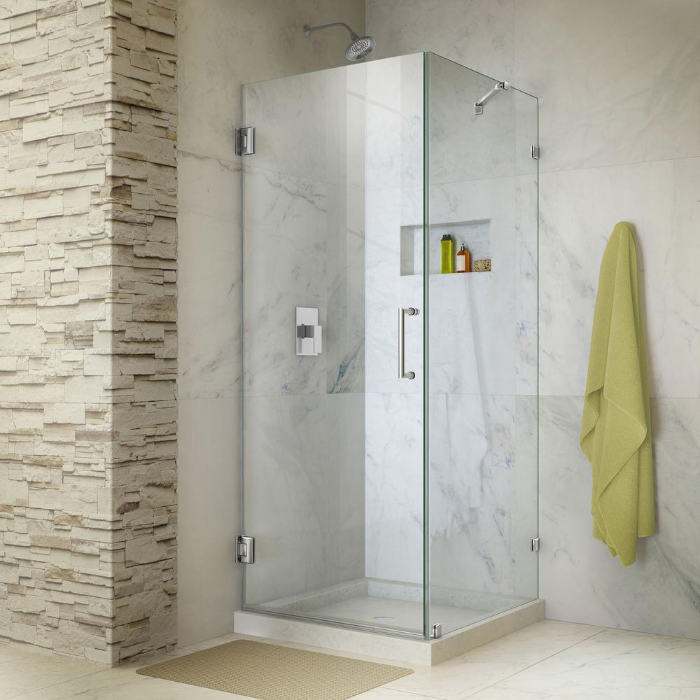 Unidoor Lux 30 in. x 72 in. Frameless Corner Hinged Shower