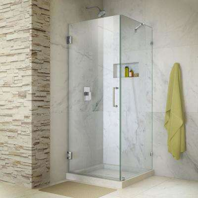 Unidoor Lux 30 in. x 72 in. Frameless Corner Hinged Shower Door in Chrome with Handle
