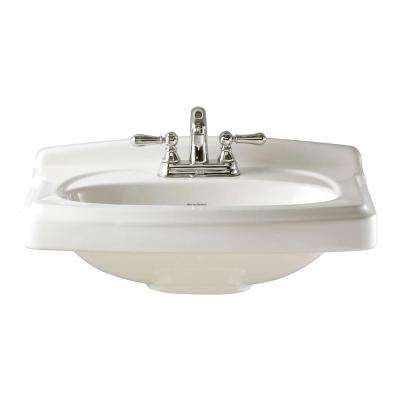 Portsmouth 10 in. Pedestal Sink Basin in White