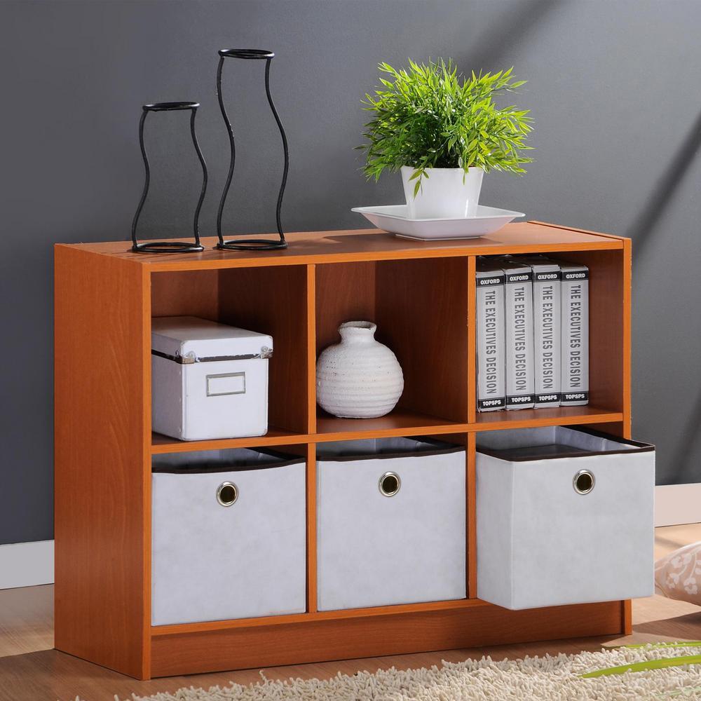 Furinno Basic Light Cherry 6 Cube Bookcase With Storage Bins