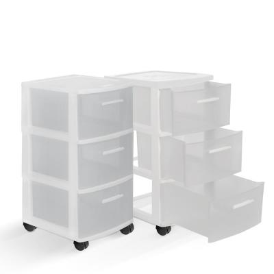 3-Drawer Resin Rolling Cart in Clear and White (2-Pack)