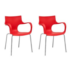 Awesome Phin Red Plastic Modern Dining Side Chair Set Of 2 Beatyapartments Chair Design Images Beatyapartmentscom