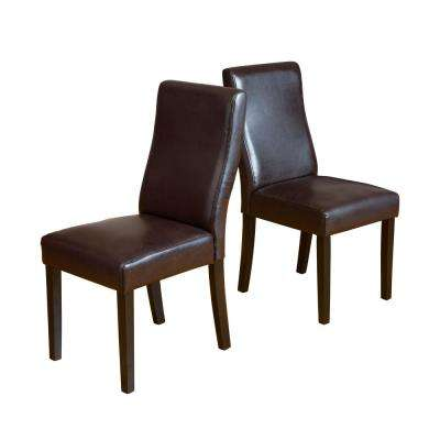 Corbin Brown Bonded Leather Dining Chair (Set of 2)