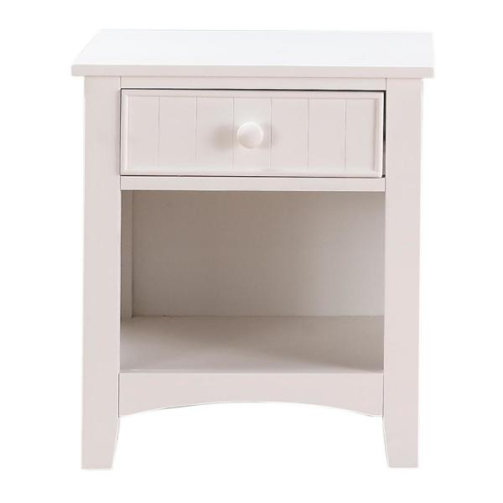 1-Drawer White Wooden Nightstand with Bottom Open Shelf