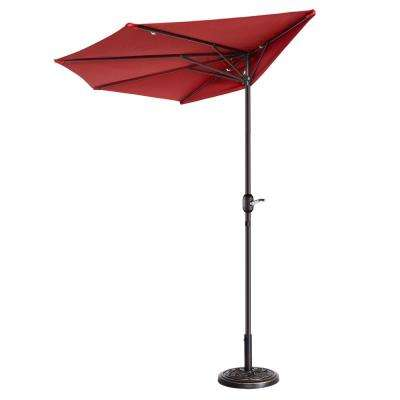 9 ft. Steel Market Half Patio Umbrella in Red