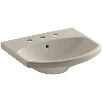 Cimarron 3-5/8 in. Vitreous China Pedestal Sink Basin in Sandbar with Overflow Drain