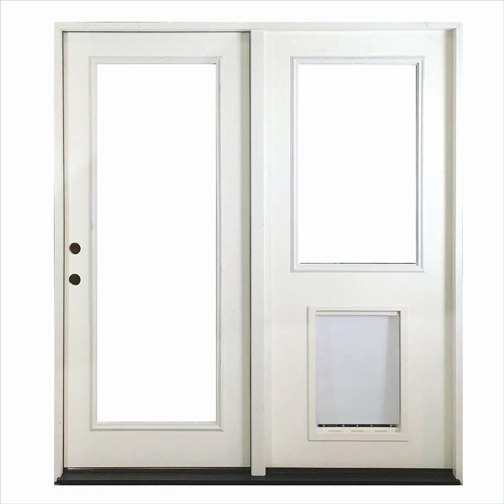 Steves sons 60 in x 80 in white prehung primed right for Center sliding patio doors