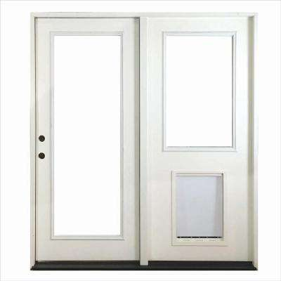 72 in. x 80 in. White Prehung Primed Right-Hand Fiberglass Inswing Center-Hinged Patio Door