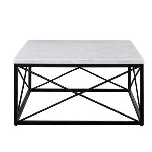 Inspired Home Marley Silver Coffee Table With Natural Marble Top