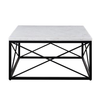 Skyler 36 in. White Medium Rectangle Stone Coffee Table