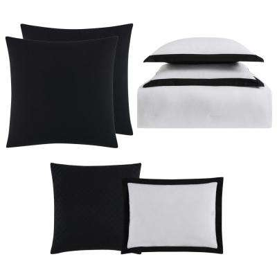 Everyday Hotel Border White and Black 7-Piece Full/Queen Comforter Set