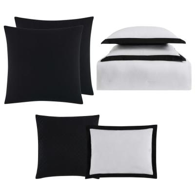 Everyday 7-Piece White and Black Queen Comforter Set