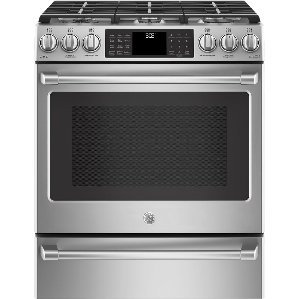 5.6 cu. ft. Smart Slide-In Gas Range with Self-Cleaning Convection Oven