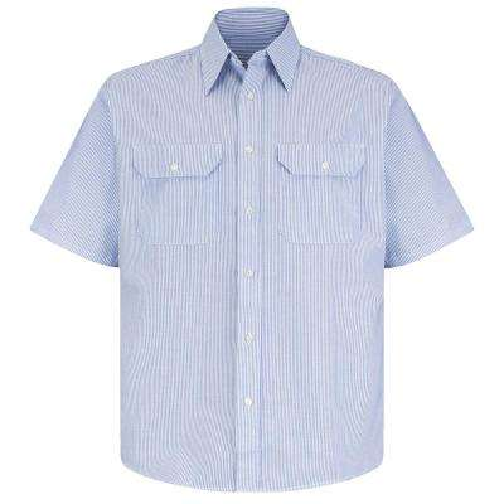 Men's Size 3XL White/Blue Pin Stripe Deluxe Denim Shirt