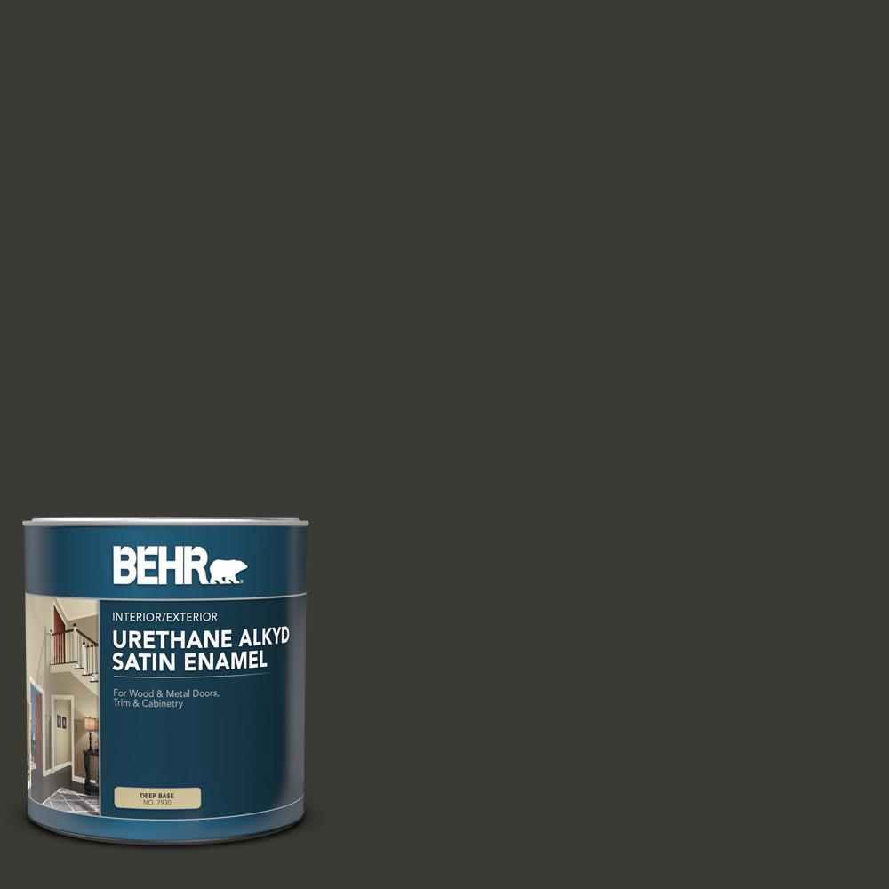 BEHR 1 qt. #ECC-10-2 Jet Black Satin Enamel Urethane Alkyd Interior/Exterior Paint