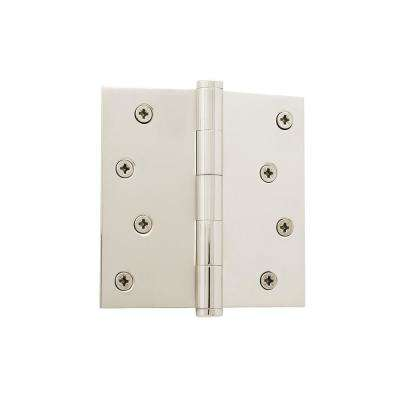 4 in. Button Tip Residential Hinge with Square Corners in Polished Nickel