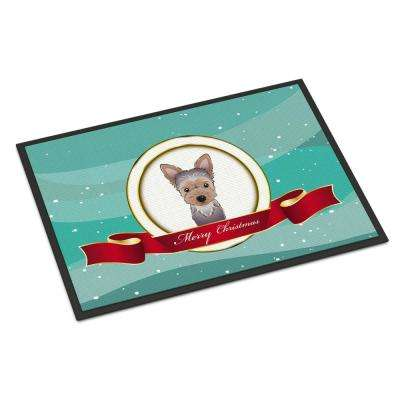 24 in. x 36 in. Indoor/Outdoor Yorkie Puppy Merry Christmas Door Mat