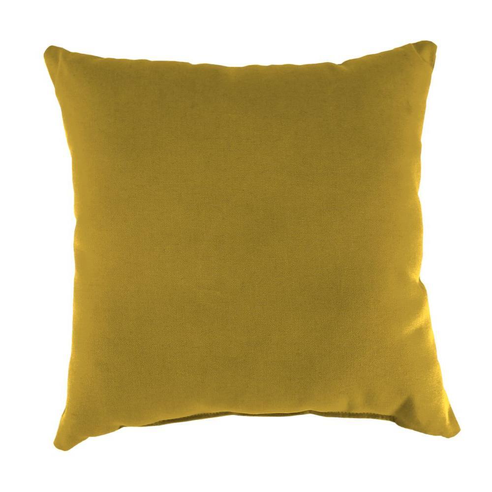 Jordan Manufacturing Sunbrella Canvas Maize Square Outdoor Throw Pillow