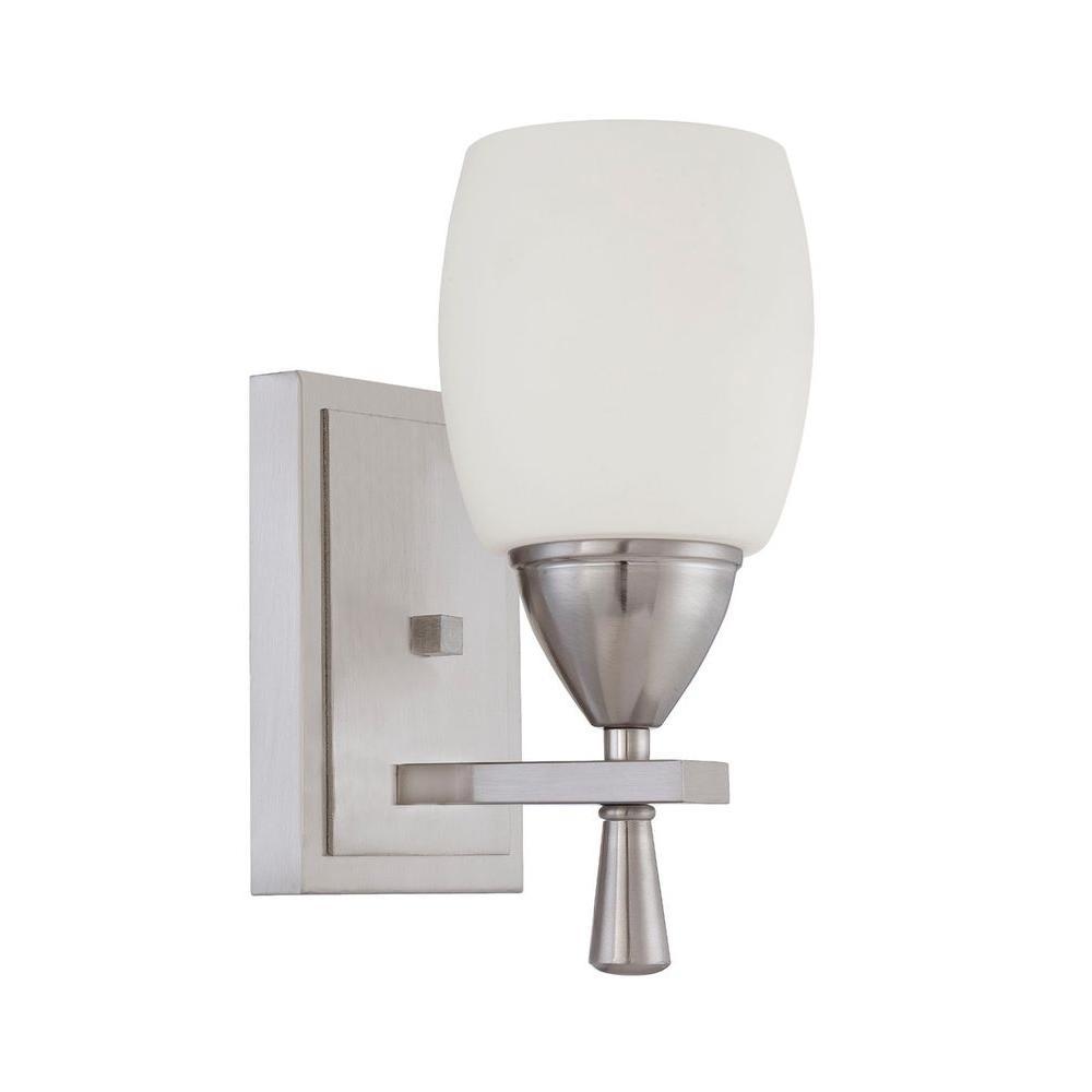 Luminance Bristol 1-Light Bright Satin Nickel Vanity Light-F2291-80 - The Home Depot