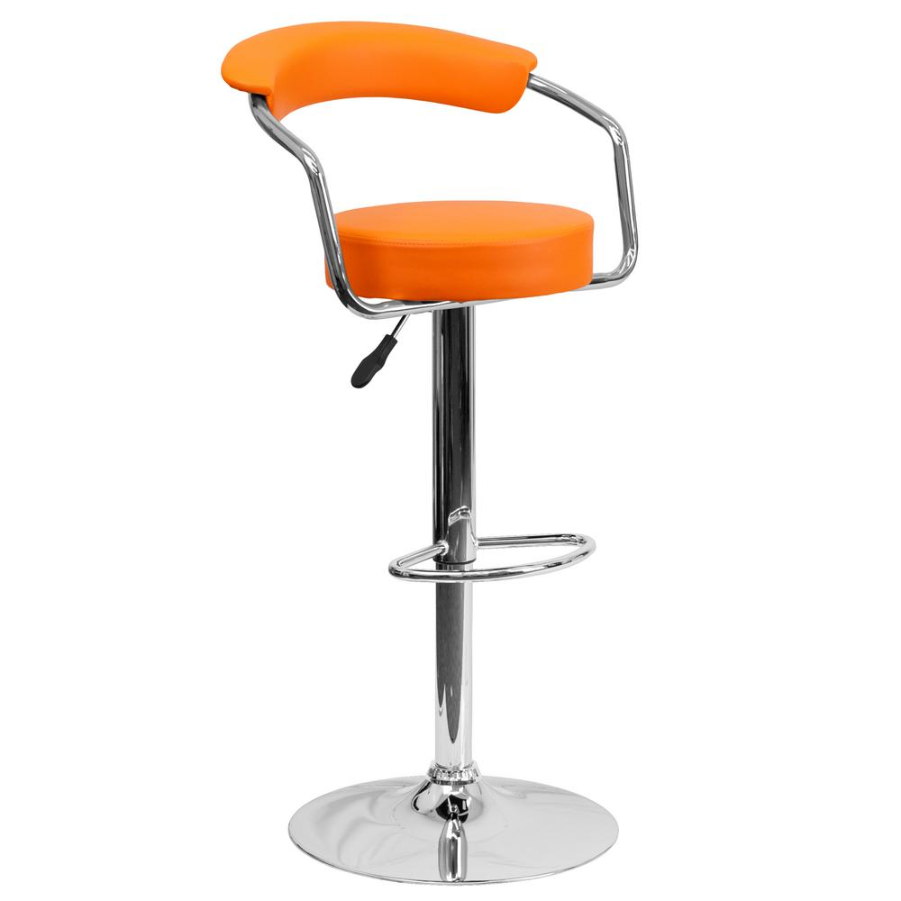 flash furniture adjustable height orange cushioned bar stool