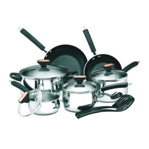 Click here to buy Paula Deen Signature 12-Piece Stainless Steel Cookware Set with Lids by Paula Deen.