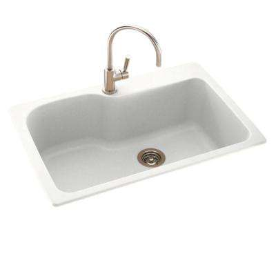 Drop-In/Undermount Solid Surface 33 in. 1-Hole Single Bowl Kitchen Sink in Tahiti White