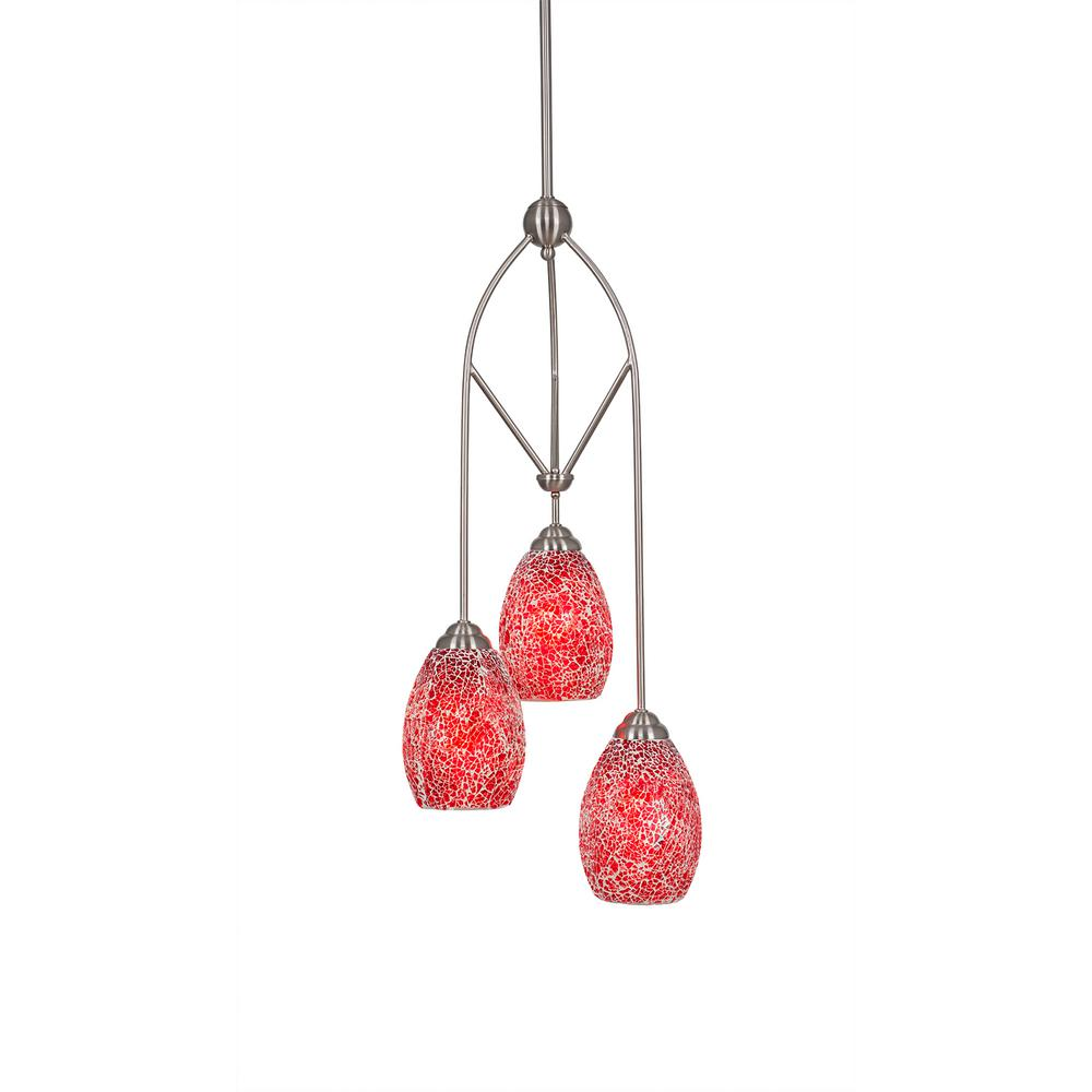 3-Light Brushed Nickel Pendant with Red Tiffany-Style Glass