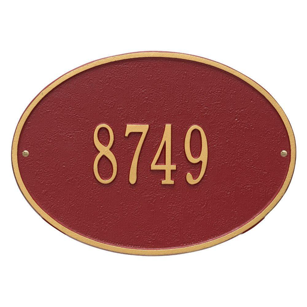 Hawthorne Standard Oval Red/Gold Wall 1-Line Address Plaque