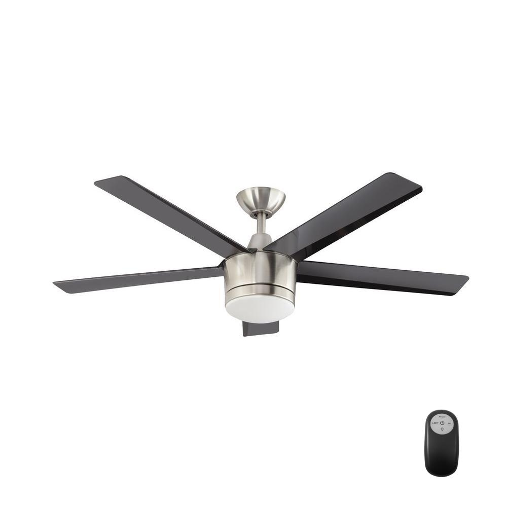 Home Decorators Collection Merwry 52 In Led Indoor Brushed Nickel Ceiling Fan With Light Kit