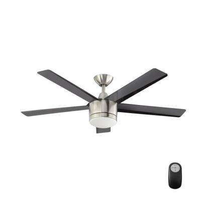 Angled mount ceiling fans lighting the home depot merwry 52 in led indoor brushed nickel ceiling fan aloadofball Images