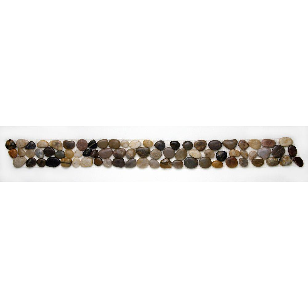 Solistone Anatolia Rumi 4 in. x 39 in. x 12.7 mm Natural Stone Pebble Border Mesh-Mounted Mosaic Tile (9.75 sq. ft. / case)