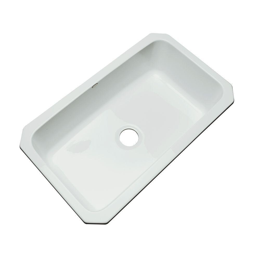 Thermocast Manhattan Undermount Acrylic 33 in. Single Basin Kitchen Sink in Ice Grey