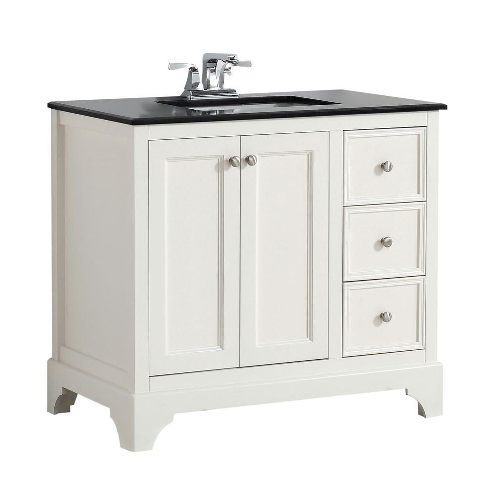Simpli Home Cambridge 36 In. W Vanity In White With Granite Vanity Top In  Black