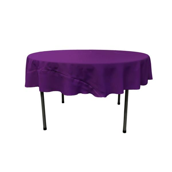 Purple 72 in. Round Polyester Poplin Tablecloth