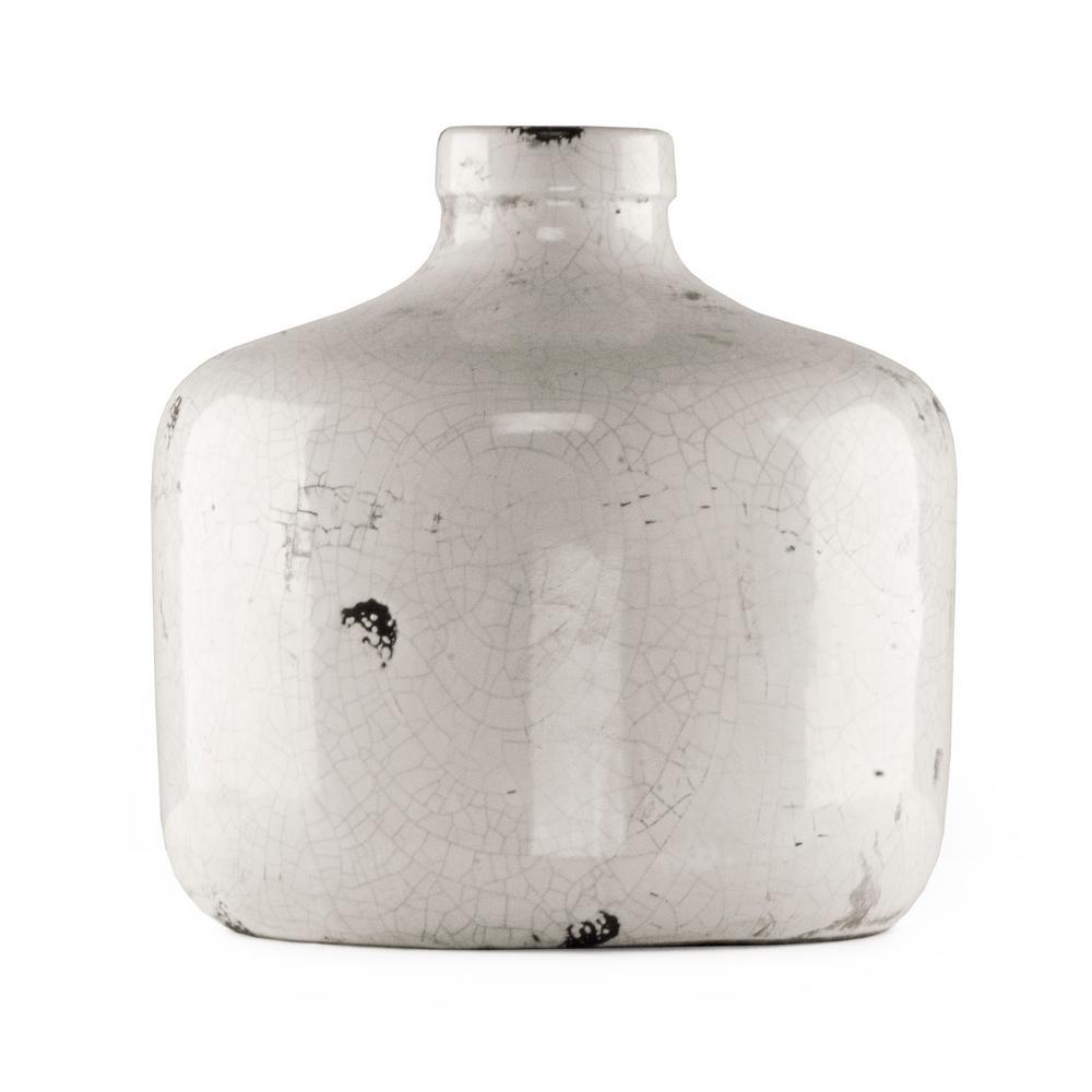 Zentique Round Distressed White Large Decorative Vase 5914l The Home Depot