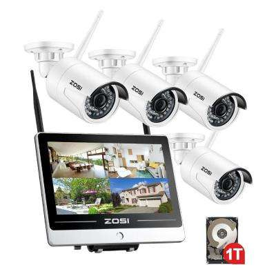 4-Channel 1080p 1TB Hard Drive NVR Security Camera System with 4 Wireless 2MP Bullet Cameras 12 in. LCD Monitor