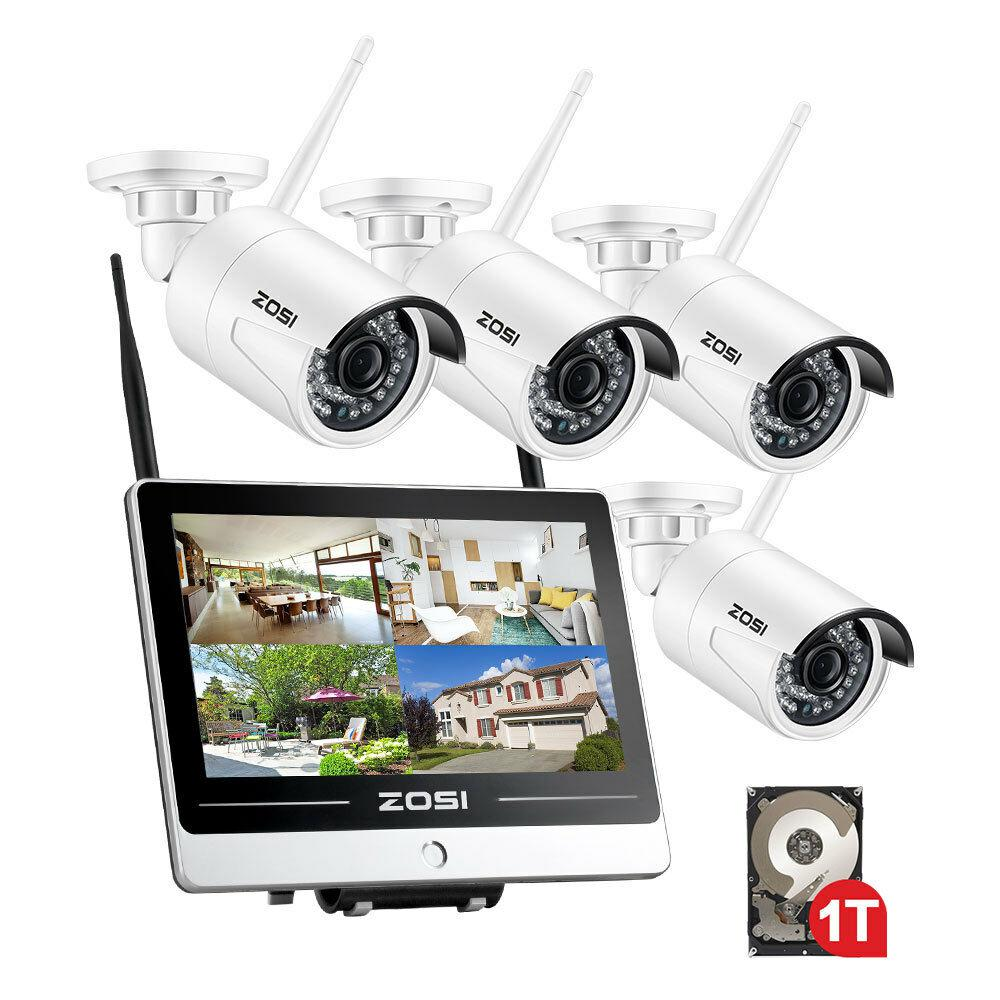 ZOSI 4-Channel 1080p 1TB Hard Drive NVR Security Camera System with 4 Wireless 2MP Bullet Cameras 12 in. LCD Monitor
