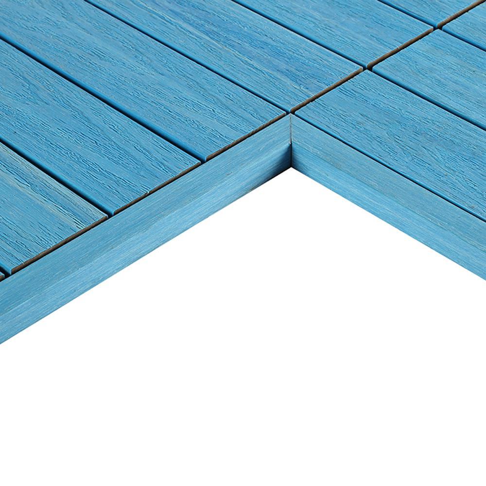 1/6 ft. x 1 ft. Quick Deck Composite Deck Tile Inside End Corner Fascia in Caribbean Blue (2-Piece/box)