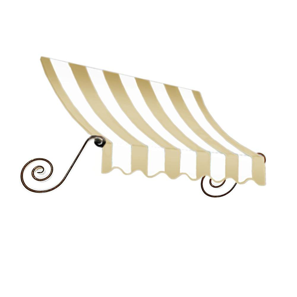 AWNTECH 5 ft. Charleston Window Awning (44 in. H x 36 in. D) in Linen/White Stripe